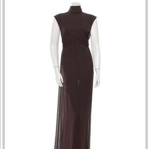 Chanel vintage two piece brown sheer dress.